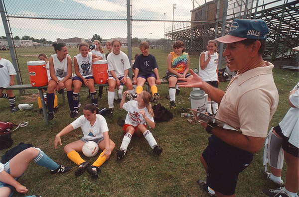 97/08/20 LaSalle Girls Soc  3 - James Neiss Photo - LaSalle Girls Soccer Coach Sam Pagano talks to the troops during a break in practice.