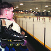 2/17/97--ROLLER HOCKEY--DAN CAPPELLAZZO PHOTO--ROLLER HOCKEY PLAYER DAVE BENTLEY,11, OF G.I. LOOKS AT HYDE PK DURING AN ICE HOCKEY GAME.
