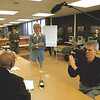 98/04/28--48 HOURS LASALLE--DAN CAPPELLAZZO PHOTO--CBS 48 HOUR NEWS ANCHOR PAULA ZHON (CENTER) AND CAMERA CREW SPEAK TO TEACHERS AND ADMINISTRATORS AT THE LASALLE HIGH LIBRARY ABOUT THE SCHOOLS SEXUAL HARRASMENT POLICY.<br /> <br /> 1A