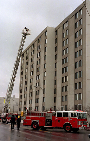 98/03/03 Fire at Towers *Dennis Stierer photo - Fire trucks at the scene of a fire at Urban Park Towers around 11:30 AM Tuesday morning.