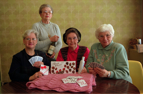 98/1/14 Knights Card-Rachel Naber- Maria Jones, Dolores Lawida, Mary Rose Quirk, Terry Fox of the Knights of Columbus are having thier annual card tournament.