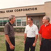 7/1/97--NUTTALL GEAR--DAN CAPPELLAZZO PHOTO--(LTOR) W.C. (CHUCK) KOLKEBECK,VP MARKETING, CHRIS COLLINS, PRES. AND VP OF ENG. CARL BECKER TALK ABOUT THE RECENT SALE OF THE COMPANY .LOCATED IN THE OLD BELL AIROSPACE BLDG.<br /> <br /> $$PG