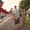 6/12/97-- Oppenheim -- Takaaki Iwabu photo-- Lloyd Murray, left, member of Local 463, and NF councilwoman Connie M. Lozinsky, second from right, uncover the memorial rock which is dedicated to Local 463 at Oppenheim Park Thursday. (They announce the plan of new zoo at the Park...) <br /> <br /> tmc photo