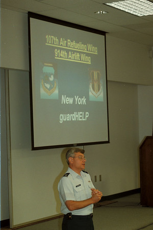 98/05/20 guardHELP - James Neiss Photo - 107th Air Refueling wing NY Air National Guard Colonel James W. Kwiatkowski, commander, talks to local officials about the new guardHELP program going into effect in New York State.