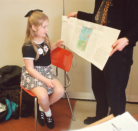 "2/20/97 Young Authors - James Neiss Photo - Jessica Costa 9yrs/4th grade reads her book ""The Flamingo"" to listeners at the 8th Annual Young Authors' Conference, Lewport."