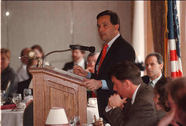 "5/2/97 Dennis C. Vacco - James Neiss Photo - Attorney General Dennis C. Vacco speaks to a"" Law Day"" Audience durring a lunceon hosted by the Niagara Falls Bar Association at the Niagara Falls Country Club in Lewiston."