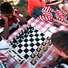 98/07/26 Chess Players-Rachel Naber Photo-Ahmoad Ware (left) of Buffalo and Warrick Rolfe of Niagara Falls both chess   play a game of chess at Marilyn Tooley Park.