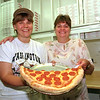 98/08/10 Sub&Pizza Shop *Dennis Stierer Photo -<br /> Pam Montaque and Marlene Rogenmoser serve up some great pizza and still doing right after 15 years in business.