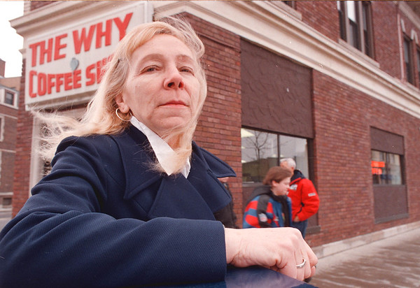 2/23/97-- why coffee -- Takaaki Iwabu photo-- Shirley London stands in front of The Why Coffee Shop, which she said refused to serve her at a table (because she went there alone).<br /> <br /> 1A Tuesday/ color