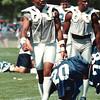 7/16/97-- Bills, Jones--Takaaki Iwabu photo-- Buffalo Bills Henry Jones, #20, at training camp.