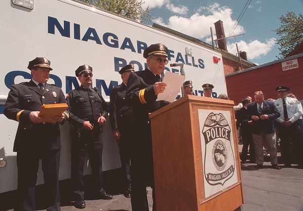 5/27/97 Cops & Camera 3 - James Neiss Photo - Niagara Falls Police Superintendent Anthony Fera announces plans for effort to clean up drug dealing hot spots in the city with the help of servalenece cameras.