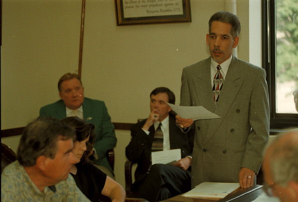 98/08/03 Merino Hearing 2 - James Neiss Photo - City Council held a meeting to decide if the firing of City Corporation Counsel Robert P. Merino was done legally. Here, Right, acting corporation Cousell, Timothy G. Bax, explains how the firing was done within the rules of the city charter.