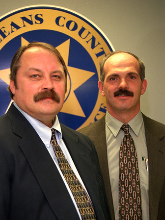 99/01/04 Albion New Official-Rachel Naber Photo-Rick Smith (left) the new undersheriff and Merle Fredricks the new sheriff.
