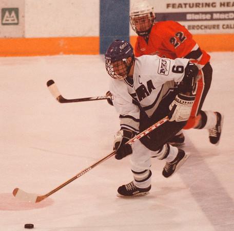 98/01/16-- NU Hockey 2--Takaaki Iwabu photo-- Niagara University Jon Marshall (6) controls a puck against RIT's Jerry Galway.