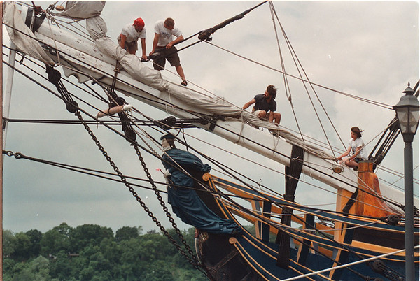 7/3/97 HMS Bounty 2 - James Neiss Photo - Deck hands work in the rigging of this tall sailing ship visiting Lewiston dock.