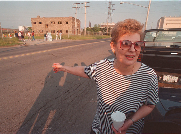 6/12/97 Water Plant Picketing - James Neiss Photo - Barbara Aleksiejuk, owner of Culberts Tavern on Buffalo ave is upset about cashing checks from a New Jersey Contractor that bounced. Protesters stand near the entrance of the old water plant where the NJ contractor is removing aspestose.