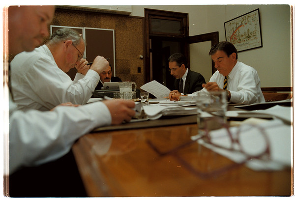 98/11/02 Budget Meeting City Hall--Vino Wong Photo--<br /> L-R City Council meeting John G. Accardo, Frank Soda, Vince Anello, Timothy G. Box and Guy Sottile.  Bax is the only non council member.