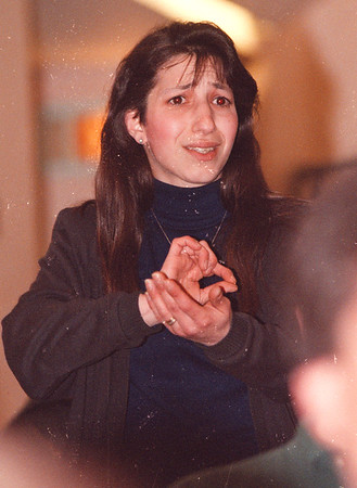 4/15/97-- protest-- takaaki Iwabu photo-- Amy Scott shows her emotion as she appeals to NF School Superintendent Carmen Granto, who talked to the prarents at 66th School Tuesday.