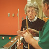 9/11/97-- pool tourney --Takaaki Iwabu photo-- Lucile McElwain plays a billiard at John Duke Senior Center. (for Judy's story on pool tournament to raise funds for Habitat for Humanity...) <br /> <br /> feature, Tuesday, bw