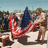 5/23/97 Flag Raising - James Neiss Photo - L-R Paul Dunlap, Office of the Day with VFW post 54 and Jed Carver, Jr. Vice Commander of VFW post  54 raise a new flag at the John A Duke Senior Center.