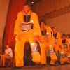 2/26/97--LASALLE MIDDLE/BHM--DAN CAPPELLAZZO PHOTO--LASALLE HIGH 12TH GRADER JOVAN HUNT, OF THE LASALLE HIGH SCHOOL PERFORMING GROUP HYCE, LEADS A LINE DURING A SPIRITED PREFORMANCE AT THE LASALLE MIDDLE SCHOOL AUDITORIUM DURING AN ALL-DAY SHOW IN HONOR OF BLACK HISTORY MONTH.<br /> <br /> LOCAL
