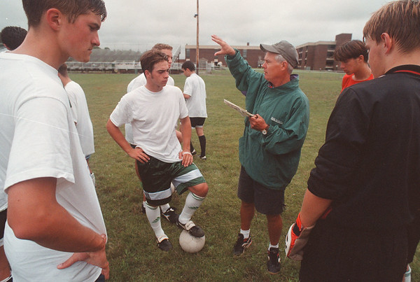 97/08/29 LewPort Soccer 2 - James Neiss Photo - LewPort Soccer Coach Jim Clauss talks to the team durring practice.