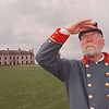 5/4/97--FT NIAGARA/CIVIL WAR--DAN CAPPELLAZZO PHOTO--ADVISOR TO GEN ROBERT E. LEE, MAJOR ROBERT MARTIN (AKA; THORNTON GARLOCK, OF SILVERCREEK) SCANS THE HORIZON AT FT. NIAGARA DURING A CIVIL WAR REENACTMENT DAY.<br /> <br /> LOCAL NEWS