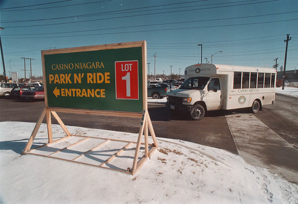 2/13/97 Park N' Ride - James Neiss Photo - Free Parking and Bus ride to casino from lot at corner of Stanley Ave at Queen Elizabeth Way.