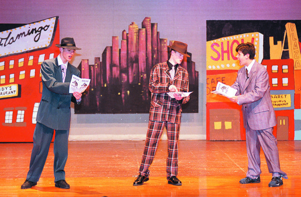 3/10/97--LEWPORT/GUYS&DOLLS2--DAN CAPPELLAZZO PHOTO--(LOTR)SCENE 1/ACT1 JIM BANE AS BENNY SOUTHSTREET, PHIL MILLER AS NICLEY NICLEY JOHNSON AND PETER BENNETT AS RUSTY CHARLIE RUN THROUGH A DRESS REHEARSAL . THE LEWPORT DRAMA CLUB WILL PRESENT THE AMERICAN STAGE CLASSIC MARCH 13,14&15 @7:30, TIX$5.<br /> <br /> FRI FEATURE