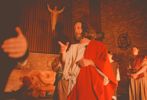 "98/03/17--Passion Play--Takaaki Iwabu photo-- Ernie Renaud plays a role of Jesus in ""Passion Play"" during Tuesday's rehearsal at St. Peter' R.C. Church in Lewiton. (Play will be March 20, 22, 27 and 29 at the Churcy) <br /> <br /> Grapevine photo"