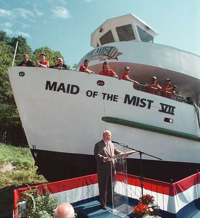 7/11/97 Maid Launch 2 - James Neiss Photo - James V. Glynn, President, Maid of the Mist Steamboat Company, LTD. speaks at the launching ceremonies for the Maid of the Mist VII (seven)