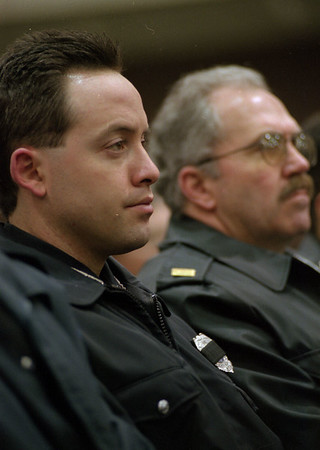 98/03//03--McLellan 2--Dan Cappellazzo photo-- Niagara Falls police officer Nickolas Ligammari, front, and Lt. John Demarco were the two of many local (Niagara Falls) officers who attend the memorial service.