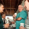 97/08/23-- old timers--Takaaki Iwabu photo--George Wenz, second from right, shares a laugh with Ralph Aversa, left, and Mickey Rimmen during the 30th annual awards picnic by Niagara Falls Old Timers Sports Hall of Fame. Wenz was one of the inductees at Saturday's ceremony. <br /> <br /> sports, Sunday, color