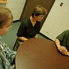 98/05/19--LEWPORT COUNCELING--DAN CAPPELLAZZO PHOTO--(LTOR)EMILY KULAK, (FOREGROUND) RANSOMVILLE,  AND MATT STEINER, LEWISTON, BOTH LEWPORT STUDENTS TALK WITH JANE  EMBORSKY, TEEN SUPPORT GROUP AT LEWPORT HIGH.<br /> <br /> WED FEATURE