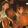 98/01/09-- HS basket 1--Takaaki Iwabu photo-- Lew-Port HS Mike Kubik, left, tries to stop LaSalle HS Cornelius Hawthorne. <br /> <br /> sports, color, Saturday