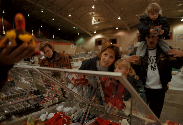 97/11/16-- collectibles show--Takaaki Iwabu photo-- Mary and Ashley Schaffert, middle, Lockport, examine the toy held by an exhibitor at Collectibles Show in Niagara Falls Civic and Convention Center Sunday. (Picture in right are Michael and Taylor Schaffert.)