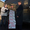 97/12/12--salvation army--dan cappellazzo photo--SALVATION ARMY SOUP KITCHEN DIRECTOR SISTER MARY POWELL TALKS WITH UPS DRIVER BOB DUHOW AND  UPS EMPLOYEE RELATIONS MANAGER KEVIN F. FOLEY ABOUT THE DONATED SERVICES TO GET HOLIDAY BIRDS TO NEEDY PEOPLE.<br /> <br /> SATURDAY FOLDER 38p6 x 5.75""