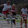 5/15/97-- track meet 1 --Takaaki Iwabu photo-- Le'Nee Threats, 8th-grader of Niagara Falls HS won the girl's 100m hurdles during the track meet against Niagara-Wheatfield HS Thursday. <br /> <br /> sports, Friday