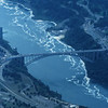 9/17/97--LOWER RIVER--DAN CAPPELLAZZO PHOTO--AN ARIAL VIEW OF THE LOWER NIAGARA, RAINBOW BRIDGE CENTER.<br /> <br /> LOCAL