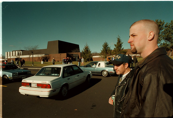 98/12/01 NCCC Bomb Threat - James Neiss Photo - L-R - Frank Falcone a communications major from Youngstown and Kevin Schendel a Liberal Arts major from Lockport said they would wait 20min to see if they could go back into the bilding after being forced to leave due to a bomb threat. The threats have been plaguing the facility for weeks now.
