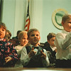 "2/25/97-- City address --Takaaki Iwabu photo-- First graders from Kalfas Magnet School perform ""This Land is My Land/This Land is Your Land"" at Niagara Falls City Hall before Mayor Jim Galie makes State of the City address Tuesday in front of Council members and the public gethered at the Hall. <br /> <br /> grapevine photo"