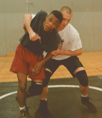 98/02/17 AOW- Evans, Rashad *Dennis Stierer Photo - Wrestler Rashad Evans, from Niagara-Wheatfield highschool works out with a fellow teammate Paul Garver who is in the 189# class.