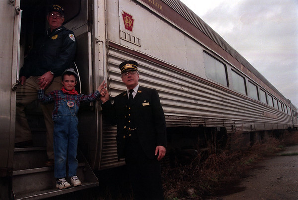 98/04/4 Medina RR-Rachel Naber Photo-Frank Berger (left), Josh Strickland (middle) and Marty Phelps at the Medina  Railroad depot.