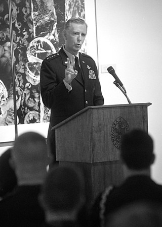 4/10/97 General Kross - James Neiss Photo -  4 Star General Walter Kross, Commander in chief, United States Transportation command and Commander, Air Mobility Command, Scott Air Force Base, speaks at Niagara University. Kross is a Niagara University Graduate of 1964.