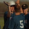 98/04/21--GI BASEBALL--DAN CAPPELLAZZO Photo--G.I'S JEFF SARGENT, GETS A HIGH FIVE FROM  CATCHER JOHN EDWARDS AFTER A TWO RUN HOMER IN THE BOTTOM OF THE 3RD INNING. GI DEFEATED LEWPORT 6-5 AT GI HIGH.<br /> <br /> SP