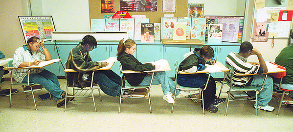 1/21/97 School Reportcard 2 - James Neiss Photo - L-R - All take health class test at Niagara Falls High School  NFHS. Shavonne Randall 17/12, Mayan Riley 17/12,  Lisa Fortino 18/12, Tanisha Moore 18/12 and Victor Feagin 16/11.