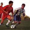 98/10/01 Starpoint vs RH-Rachel Naber photo-Benito Lopez of Starpoint goes up against matt Stacey of Roy-Hart in Boys Varsity Soccer.
