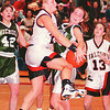 2/12/97--NFL GIRLS HOOPS 2--DAN CAPPELLAZZO PHOTO--N.W. ANGLEA TYLEC BATTLES NICHOLS  KRISTIE GREENE  WITH SECONDS LEFT IN THE GAME. A FOUL ON THIS PLAY AWARDED TYLEC TWO FREE THROWS TO WIN THE GAME FOR NW 45-44. NICHOLS KARRA CROSS AND N.W.'S JENNIFER GRAWE LOOK ON.<br /> <br /> SP<br /> <br /> SP