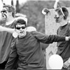 98/10/03 Junior's on Float  *Dennis Stierer Photo - B/W<br /> Newfane Junior's Homecoming float parade won first place in the float parade as these junior's show their spirit. They are from left: Andrew Griesbaum, Adam Wright, and Ben Wroblewski.