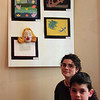 98/1/19 Bud art4-Rachel Naber Photo-Nathaniel Skinner (front/right) and Betsy Meahl of Victory Christian Academy at the Kenan Art Center.